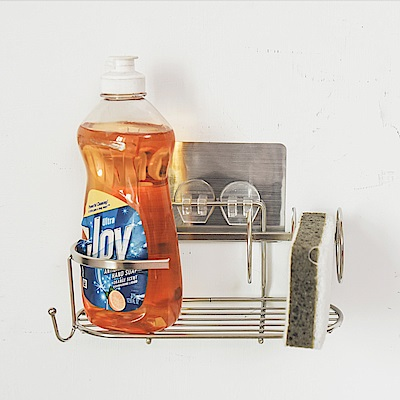 Home Feeling 瓶罐架/洗碗精架/菜瓜布架/304不鏽鋼/髮絲紋無痕貼