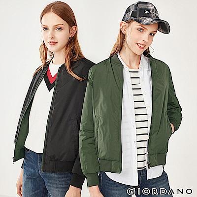 GIORDANO  女裝雙面穿鋪棉飛行外套-60 深淵綠/標誌黑