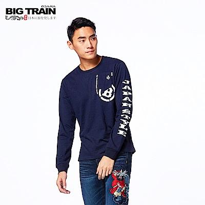 BIG TRAIN 潮風文字羅紋束口長袖-男-深藍