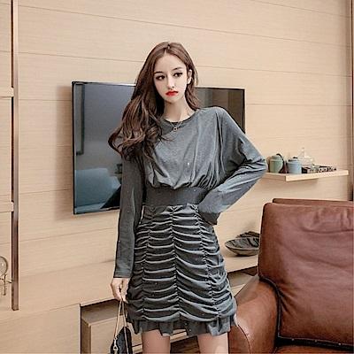 DABI 韓系修身顯瘦拼接壓褶子魚尾小香風長袖洋裝