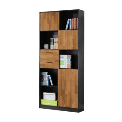 Boden-雷吉2.7尺開放式三門二抽書櫃/收納置物櫃