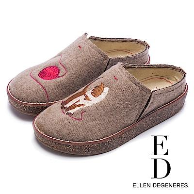 ED Ellen DeGeneres 舒適休閒絨面貓咪厚底便鞋-絨米