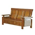 綠活居 魯瑟典雅風實木抽屜三人座沙發椅(三抽屜設置)-188x76x103cm免組