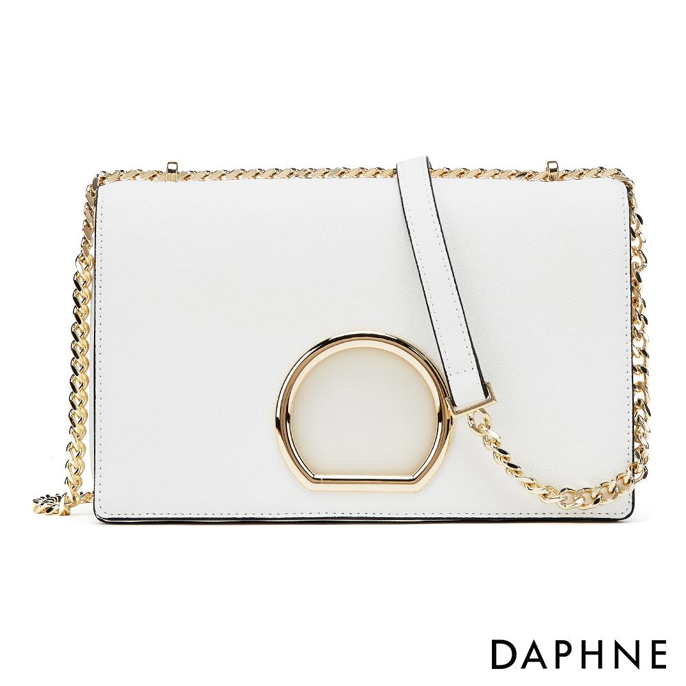 達芙妮DAPHNE-簡約金屬圓環鍊帶小方包-白色