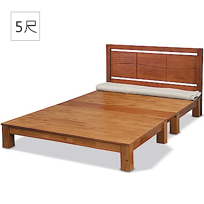 凱曼  丹喬5尺床片型雙人床-2件式(床頭片+實木床底)