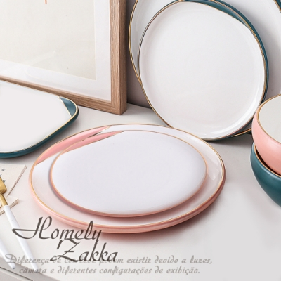 Homely Zakka 北歐輕奢風啞光金陶瓷餐具_大圓平盤26cm(少女粉)