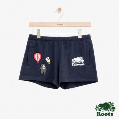 女裝Roots台灣國慶貼布毛圈布短褲-藍