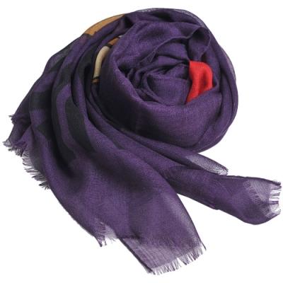 MOSCHINO品牌TOY愛心小熊LOGO義大利製羊毛混絲披肩/圍巾(紫色)