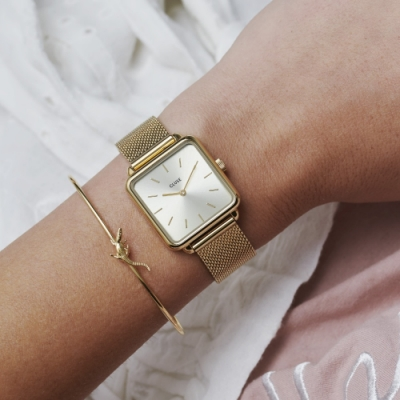 CLUSE La Tetragone 方框腕錶(金框/金錶面/金色錶帶)28.5mm