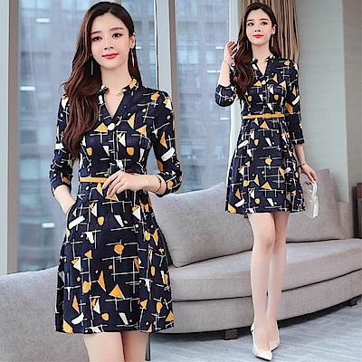 DABI 韓系氣質幾何圖騰印花收腰顯瘦長袖洋裝