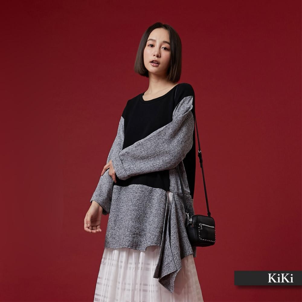 【KiKi】拼接設計綁結-襯衫(二色)
