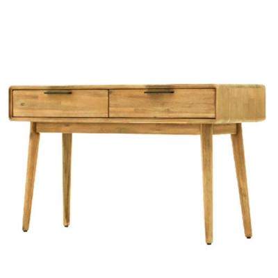 【AT HOME】日式簡約本木色圓角4.6尺二抽書桌/工作桌/電腦桌(絲帕)