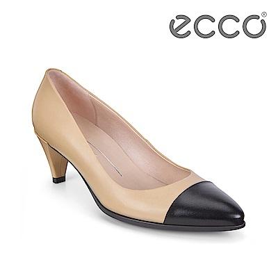 ECCO SHAPE 45 時尚尖頭拼色淺口高跟鞋 女-黑/裸色