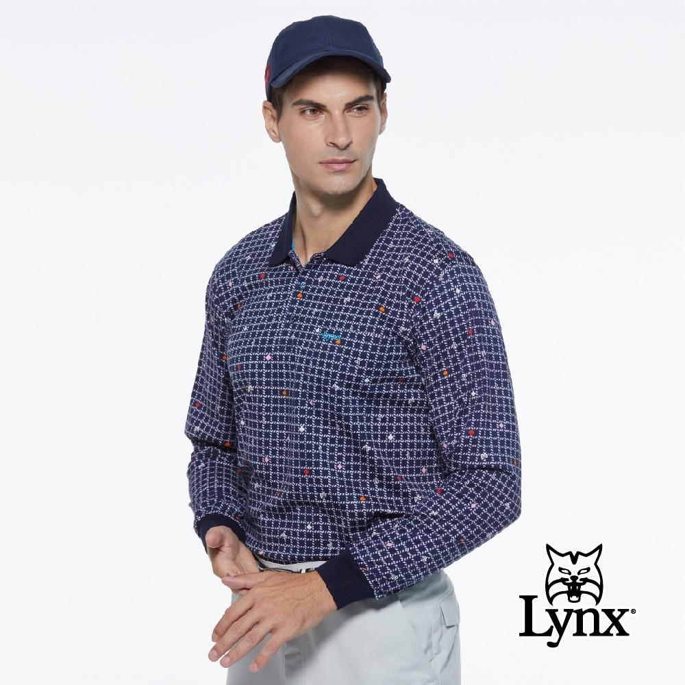 【Lynx Golf】男款純棉雙絲光方格繽紛花色胸袋款長袖POLO衫-深色