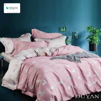 DUYAN竹漾-100%頂級萊塞爾天絲-雙人加大兩用被床包四件組-粉戀羊駝
