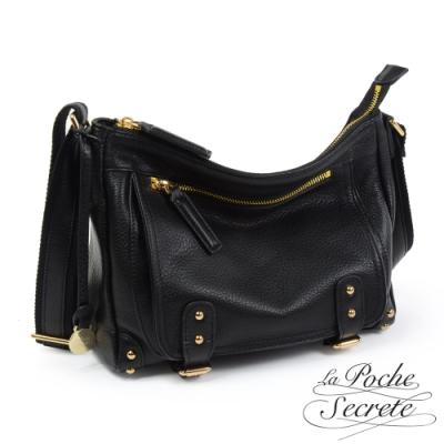 La Poche Secrete 簡約經典Leather學院包-百搭黑