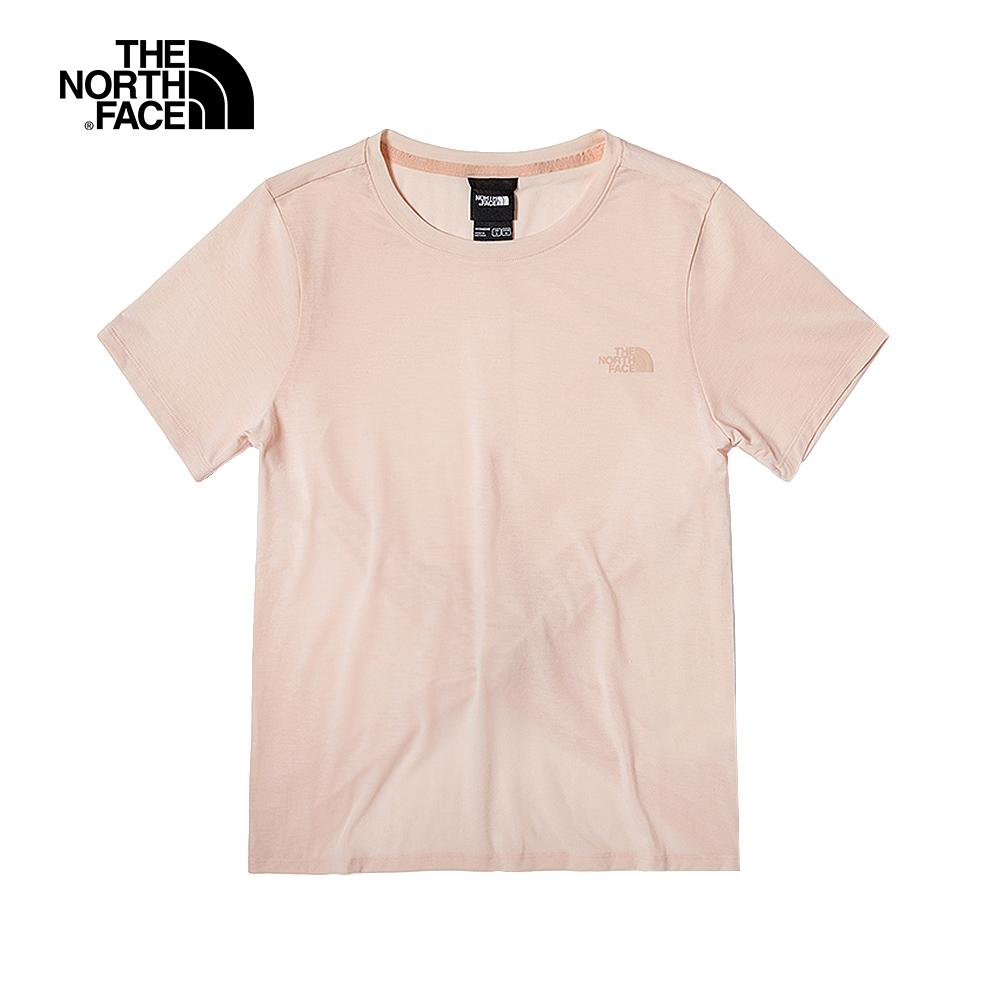 The North Face北面女款粉色吸濕排汗打結下擺短袖T恤|4UB6WC6