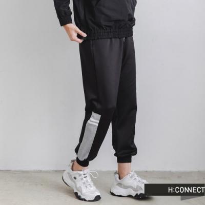 H:CONNECT 韓國品牌 男裝-色塊拼接抽繩縮口褲-黑色