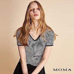 MOMA V領條紋上衣