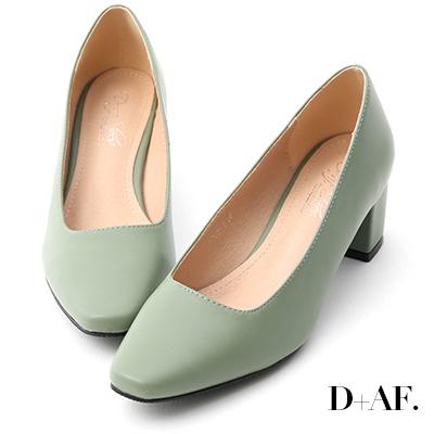 D+AF 溫柔色調.素面方頭美型中跟鞋*綠