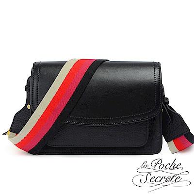 La Poche Secrete真皮 經典classic牛皮撞色織帶側背斜背包-百搭黑