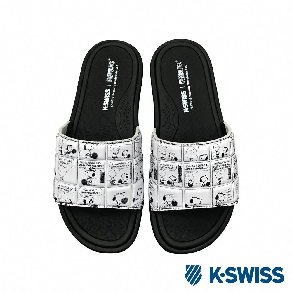 K-SWISS Slide 02 史努比聯名拖鞋-男-黑/白