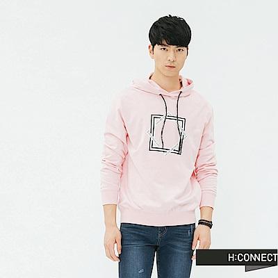 H:CONNECT 韓國品牌 男裝-抽繩印字圖樣帽T-粉