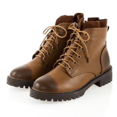 JMS-復古擦色異材質拼接綁帶拉鍊短靴-棕色