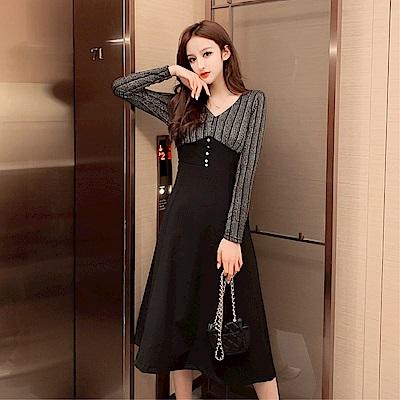 DABI 韓國風豎條紋拼接純黑色收腰紐扣顯瘦長袖洋裝
