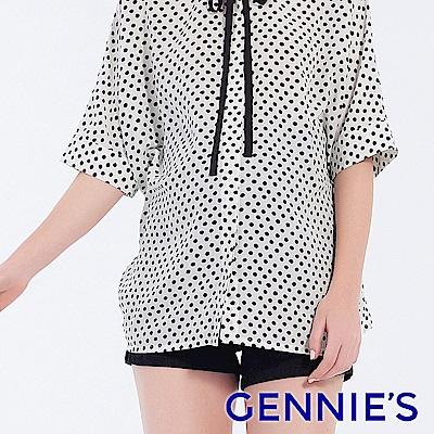 Gennies專櫃-美式率性刷破牛仔短褲-黑(T4F04)