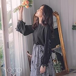 東京著衣-yoco 法式名媛拼接蕾絲挖洞透膚輕柔上衣-S.M.L(共一色)