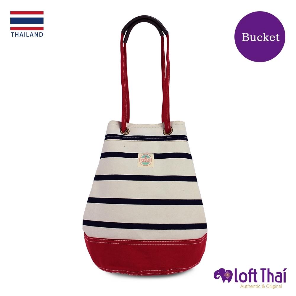 Loft THAI | 泰.兩用帆布水桶包(大) | Stripe/Red
