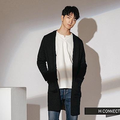 H:CONNECT 韓國品牌 男裝-雙口袋排扣針織外套-黑