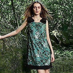 JESSICA - 立體刺繡蝴蝶結造型修身洋裝(綠)