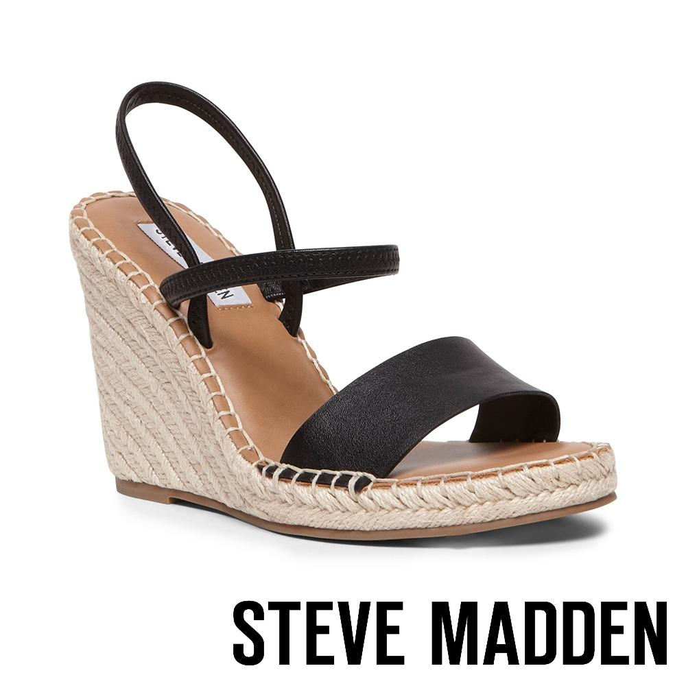 STEVE MADDEN-MCKENZIE 交叉繞踝細帶麻編楔型涼鞋-黑色