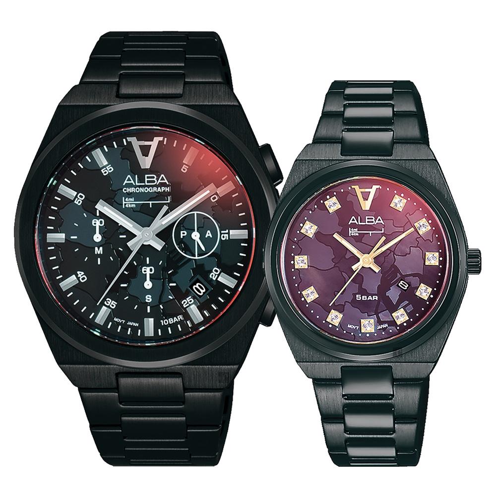 ALBA 雅柏 東京印象情侶手錶 對錶(AT3H61X1+AH7Y41X1)-41+32mm