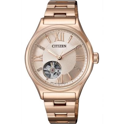 CITIZEN 星辰LADYS 限量香檳鑽石羅馬械時刻錶-34mm(PC1003-58X)
