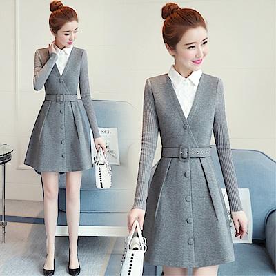 DABI 韓國風腰帶蕾絲拼接V領時尚長袖洋裝