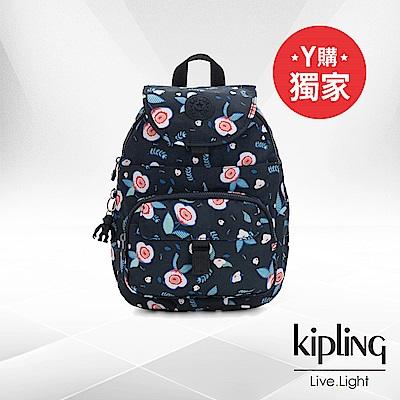 Kipling 寧靜夏夜花卉前扣多隔層後背包-QUEENIE