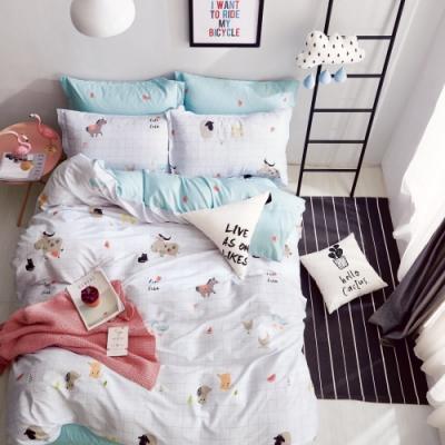 La Lune  MIT頂級精梳棉200織紗雙人床包枕套3件組 嘻哈樂園
