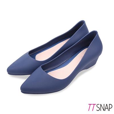 TTSNAP雨鞋-晴雨兩用粉嫩低跟防水鞋 藍