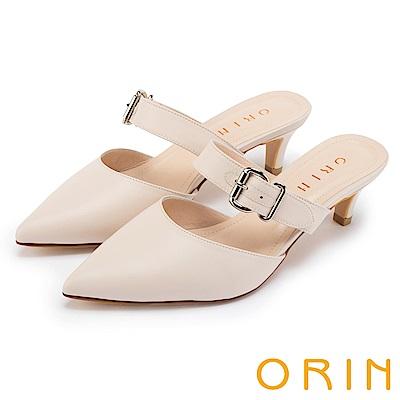 ORIN 時尚潮流 牛皮條帶方釦尖頭穆勒鞋-裸色