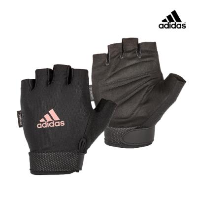 Adidas Training可調式透氣短指女用訓練手套(粉)