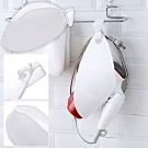 (買一送一)EZlife掛式吹風機收納架(2入)+贈掃把除塵刮刀