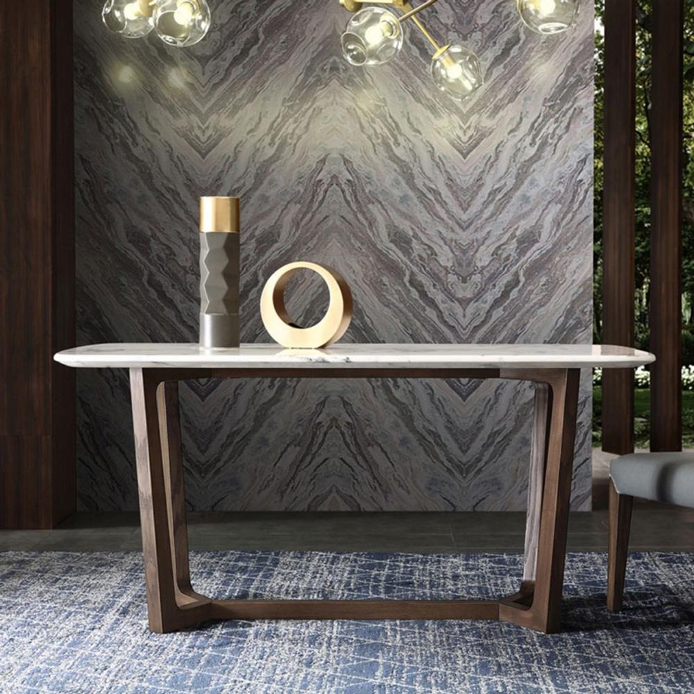 hoi! 簡約內斂仿大理石面白臘木腳1.6M餐桌DY1R-胡桃色 (H014243266)