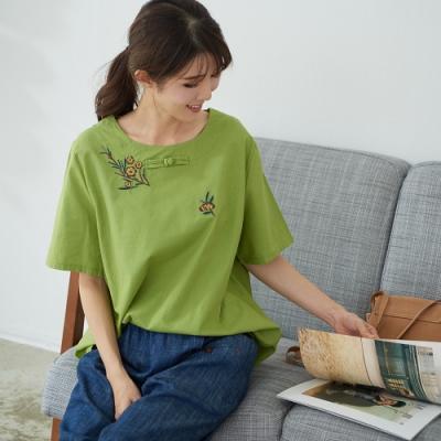 慢 生活 盤扣刺繡寬版上衣- 綠/橘