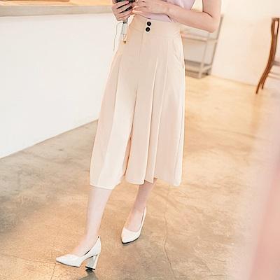不易皺高腰排釦打摺設計八分西裝寬褲-OB嚴選