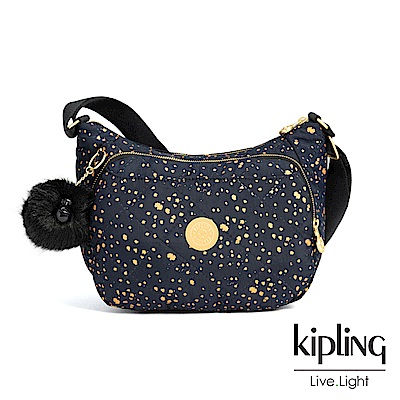 Kipling 夜黑潑墨星點雙層側背包-CAI