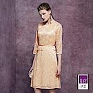 ILEY伊蕾 奢華米金鑲蔥蕾絲洋裝(米)