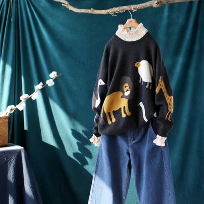 卡通動物提花螺紋圓領毛衣寬鬆針織衫-設計所在